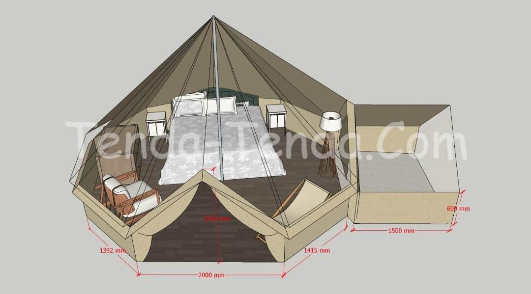 layout desain tenda glamping